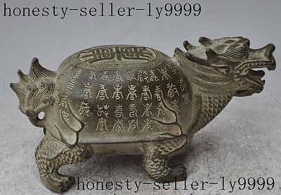 "6"" chinese fengshui bronze Longevity animal dragon head Turtle auspicious statue"