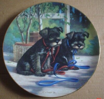 River Shore Collectors Plate A NEW LEASH ON LIFE From PUPPY PLAYTIME Schnauzer