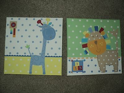 Next nursery pictures/canvas - set of 2, lion and giraffe