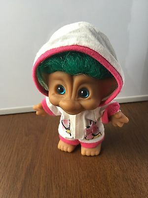 """VINTAGE ACE NOVELTY Troll Doll Hoodie Jumpsuit Outfit ❤️ Very Cute Doll  4"""""""