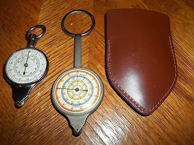 VINTAGE PAIR Germany Compass/Map Reader Cm to Km & Inches to Miles LEATHER CASE