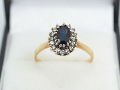 Diamond And Sapphire Engagement Ring 18ct Gold Ladies Size N S75