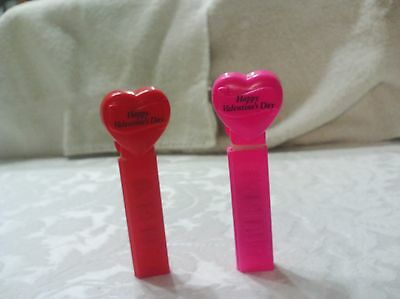 PEZ HAPPY VALENTINES DAY set of two Red & Pink no feet