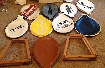 11 Vintage Tennis Racquet Covers-9 Vinyl and 2 Wooden