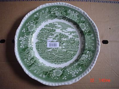 Adams Potteries England Green And White ENGLISH SCENIC Dinner Plate