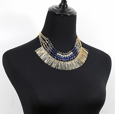 #1239 Women Fashion Jewellery Blue Colorful Beaded Chunky Statement Necklace