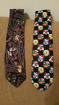 Lot of 2 Looney Tunes Mania Mens  Novelty Ties Classic Free Shipping