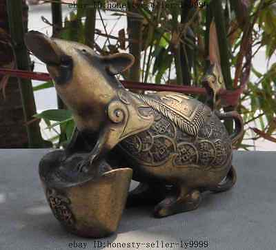 """5"""" Old Chinese fengshui Bronze yuanbao money coin ingot mice mouse lucky statue"""