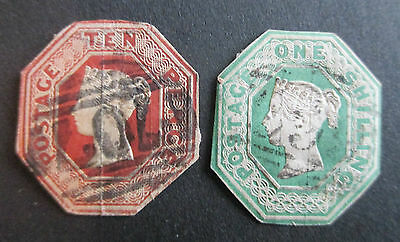 GREAT BRITAIN - QVIC 1847 10d & 1/ EMBOSSED STAMPS - USED
