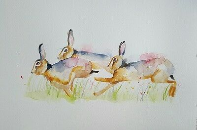 "ELLE SMITH ART. ORIGINAL RARE SIGNED LARGE WATERCOLOUR PAINTING.16x12"" ""HARE"""