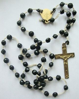Vintage 5 Decade Rosary Black Beads with Crucifix