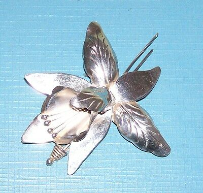 Vintage Sterling Silver 925 Large Iris Flower Brooch Pin Made In Mexico Signed