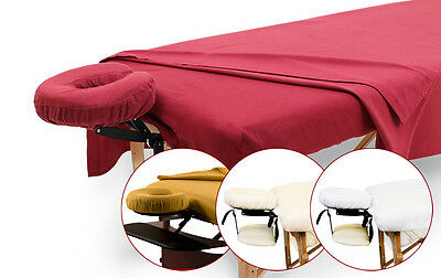 Flannel Massage Table Sheet Set Stretch Flat Sheet Face Pillow Cover White
