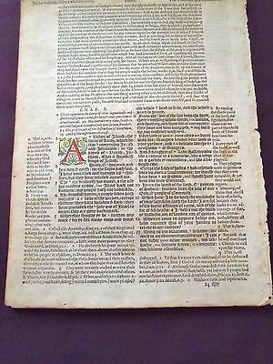 1580 Geneva Black Bible Title Leaf-Rare--Isaiah-Hand Colored