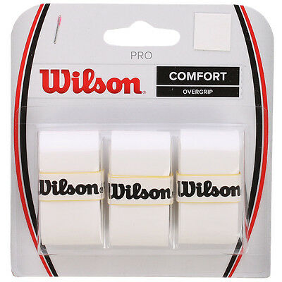 3 Wilson Pro Grips/Overgrips - White - Free P&P