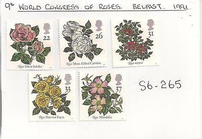 S6-265  5.Stamps.  GB.  9th World Congress of Roses.   Belfast.