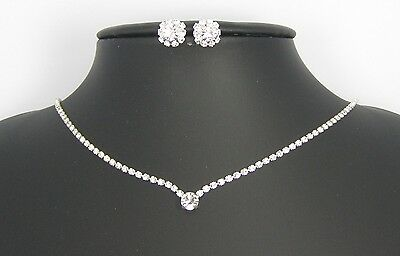 Collier + Boucles d'oreilles Strass Cristals Mariage Soirées Made in Italy