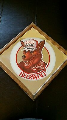 Coors Light Beer Wolf Framed Mirror Sign