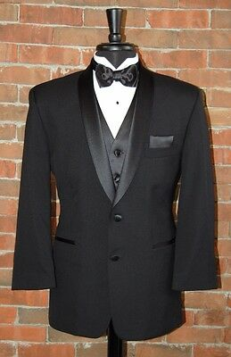 Mens 42 R Black 2 Button Shawl Complete Tuxedo Jacket / Pant / Shirt / Bow Tie