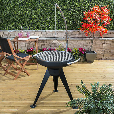 Garden Charcoal Barbecue Round Fire Pit Adjustable Grill Height Outdoor BBQ Cook