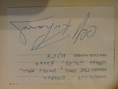 Hand Signed early  Cliff Richard fan clubmember ship sticker in book