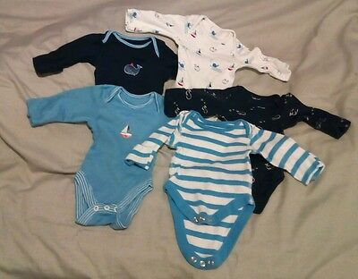 5 x Baby Boys Bodysuits in Newborn Size from Marks & Spencers