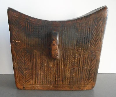 Unusual Antique Carved Wood Asian Pillow or Head Rest