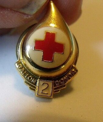 Vintage Red Cross BLOOD DONOR PIN  2 Gallon gold plated Drop Donation