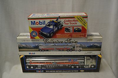 #2 Mobil Gas Toy Tanker Trucks & #1 Toy Tow Truck
