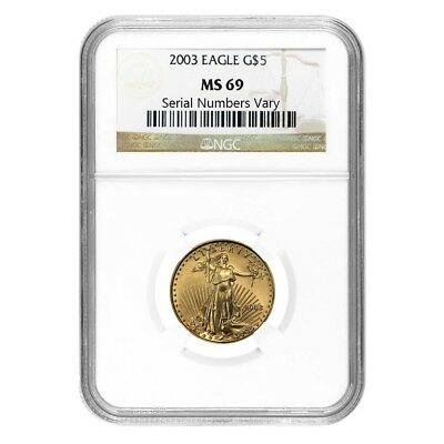 2003 1/10 oz $5 Gold American Eagle Coin NGC MS 69