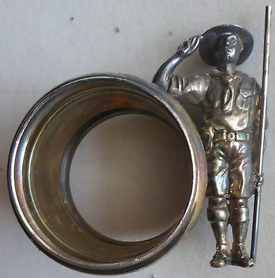 Antique 1900s Boy Scout  Victorian Figural Napkin Ring Saluting & Holding Staff