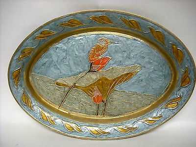 """Solid Brass Hand Painted with Hummingbird 9 ½"""" wide dish VGC used"""