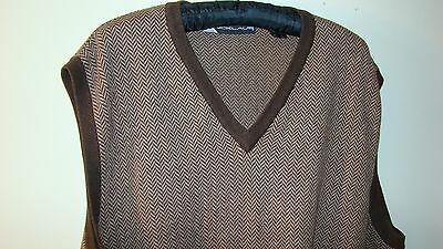 Nicklaus Men's Sweater Vest Size XL Brown Tan Herringbone Sleeveless