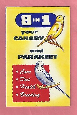 "Vintage 1960's Booklet ""8 In 1 Your Canary and Parakeet"""