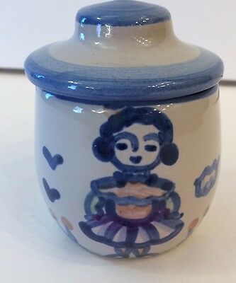 M.A. Hadley Sugar Bowl Girl Vintage Pottery Stoneware Nice GIFT Signed Piece