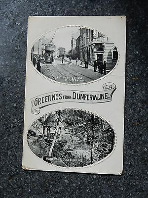 Early postcard- East Port street & Duck pond - Dunfermline -Fife Scotland -Tram