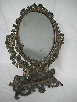 Antique Victorian Cast Iron Gilded & Painted Dressing Table Swing Mirror
