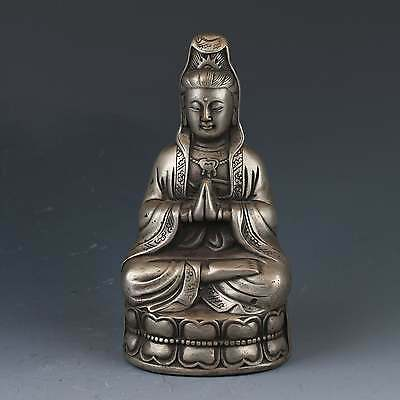Chinese Tibetan Silver Copper Hand-carved Kwan Yin Statue w Qing Dynasty G491
