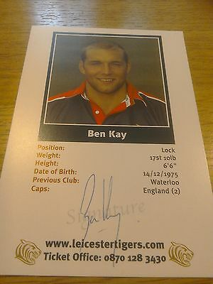 Hand Signed Ben Kay postcard photo Leicester Tigers