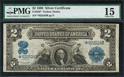 "1899 $2 Silver Certificate FR-256* - ""Mini Porthole"" ""Star Note"" - Graded PMG 15"