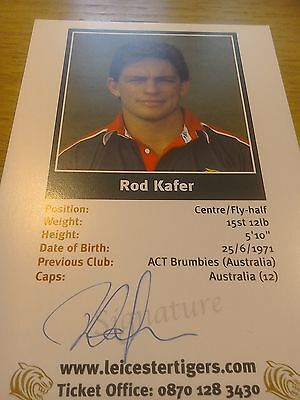 Hand Signed Rod Kafer postcard Photo Leicester tigers