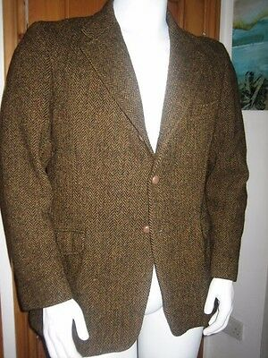 True VINTAGE men's HARRIS TWEED jacket HERRINGBONE golden BROWN sz40 regular FIT