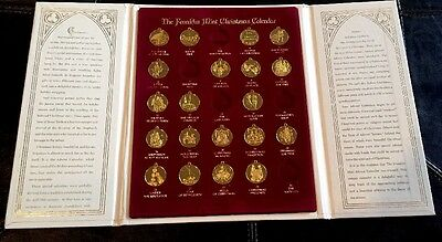 Franklin Mint  Advent Christmas Calendar Coins No Tree With Book 1988 Excellent