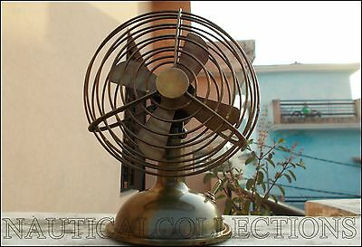 Brass Decorative Mini Brown Antique Vintage Style Collectible Working Table Fan