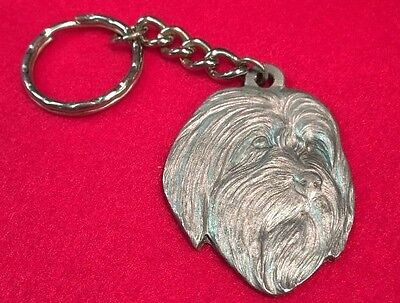 Bearded Collie 1984 RAWCLIFFE PEWTER  MEDAL KEYRING NOS,  P. DAVIS