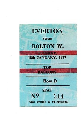 Vintage 1976-1977 Match Ticket Everton v Bolton Wanderers League Cup semi Final