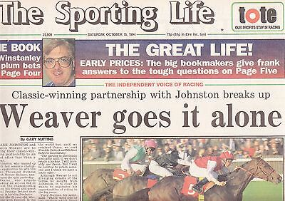 "The Sporting Life Newspaper - Saturday October 15, 1994 ""Champion Stakes"""