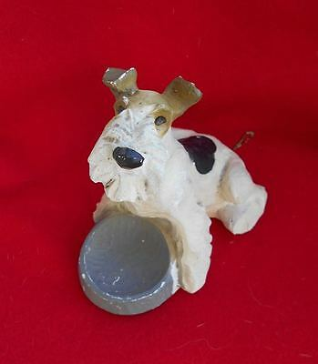 Vintage Jan Allan Wire Fox Terrier SIGNED Dog Figurine c1940s Dog NOT Retouched!
