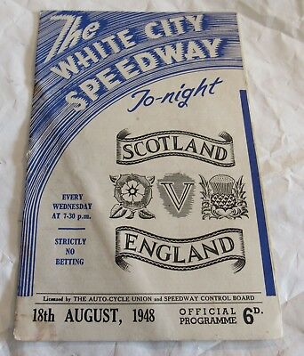 1948 White City Speedway Scotland vs England Motorcycle Racing Program Old RARE