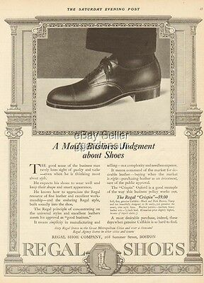 1919 Regal Shoe Co Boston MA Vintage Men's Fashion/Style Business Judgment Ad
